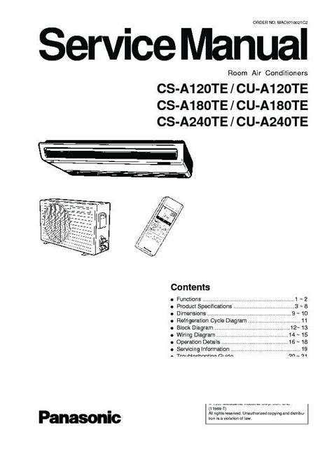Panasonic Air Conditioner Service Manuals Free Download