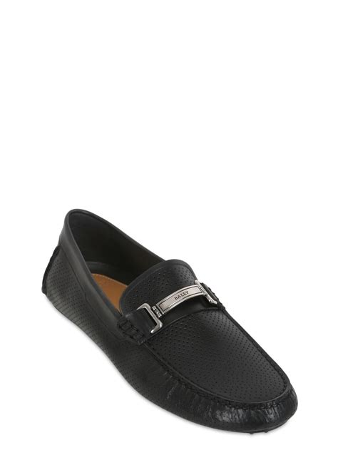 bally slippers bally droteo leather driving shoes in black for lyst