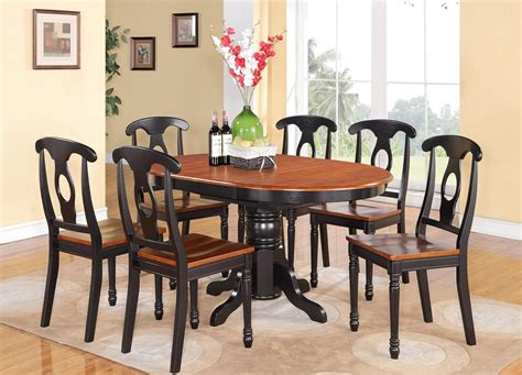 Kitchen Table Furniture 5 Pc Oval Dinette Kitchen Dining Set Table W 4 Wood Seat Chairs In Black Cherry Ebay