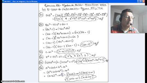 descargar algebra de baldor con solucionario gratis youtube video 68 factorizacion solucion miscelanea ejercicio 106