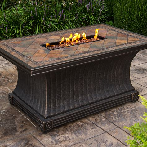 firepit chat set oakland living vienna gas firepit table seating 5 pc
