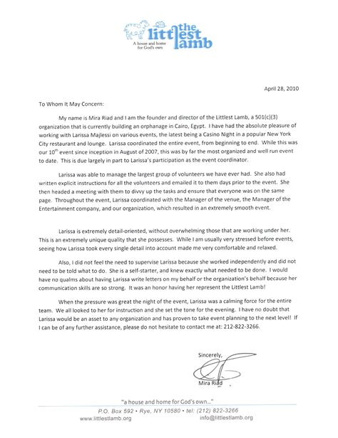 charity work letter recommendation letter for volunteer work sle cover