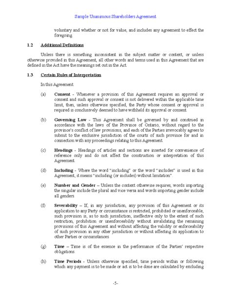 template shareholders agreement sle unanimous shareholder agreement free