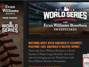 World Series Car Giveaway - the world series with evan williams bourbon sweepstakes