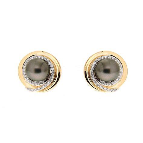 tahitian pearl earrings with diamonds at 1stdibs