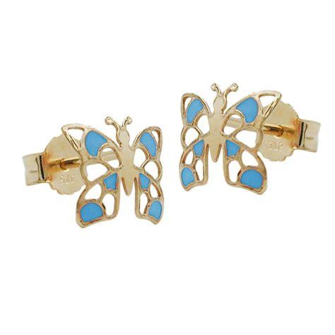 Schmuck Gold Lackieren by Ohrstecker Ohrringe Schmetterling Blau Lackiert 375 Gold
