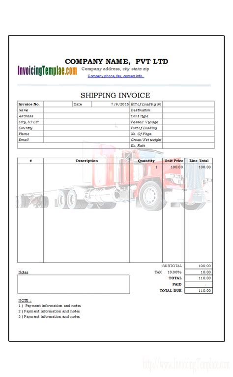 transportation invoice transportation invoice template