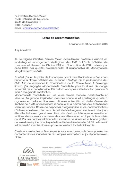 Exemple Lettre De Recommandation Hotellerie lettre de recommandation hec lausanne document