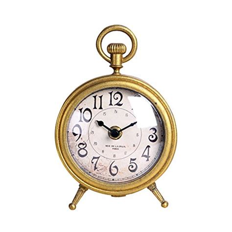 Small Decorative Desk Clocks Nikky Home Metal Small Vintage Table Clock Decorative With Pocket Shape Distressed Gold