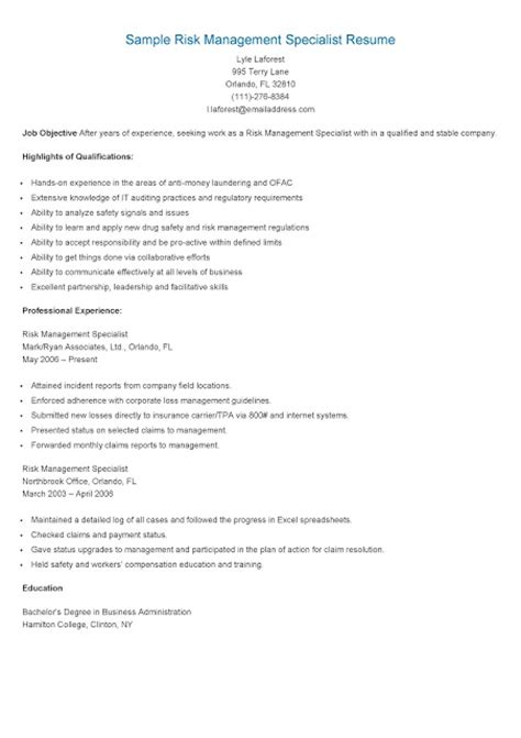 Risk Management Specialist Sle Resume by Resume Sles Sle Risk Management Specialist Resume