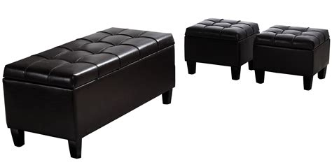 Ottoman For by Furniture Black Tufted Rectangular Leather Storage