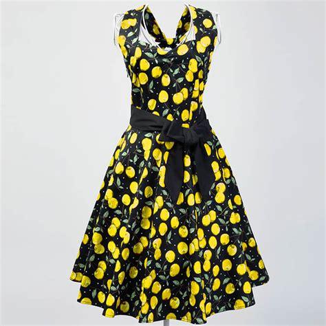 Yellow Black Retro Element S M L Casual Jumpsuit 18627 1950 s vintage halter cherry print casual swing dress n11926