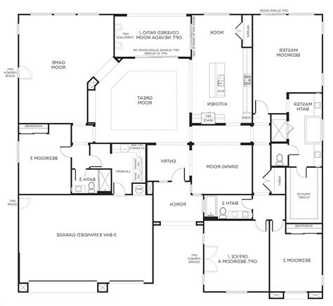 floor plans aflfpw13992 1 story farmhouse home with 4 one single story farmhouse floor plans level house with