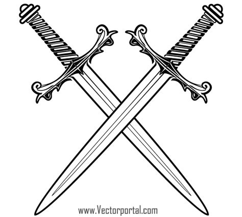 free crossed swords vector 123freevectors
