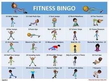 fitness bingo 30 different bingo cards and tools