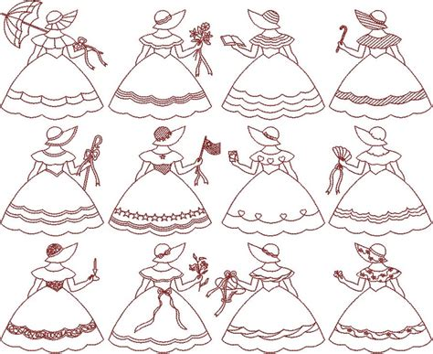 embroidery design redwork i adore redwork and sunbonnet sue redwork sunbonnet