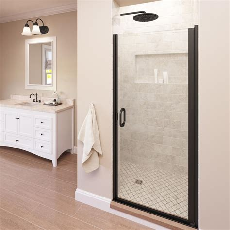 Bronze Shower Doors Basco Infinity 33 In X 76 In Semi Frameless Hinged Shower Door In Rubbed Bronze With