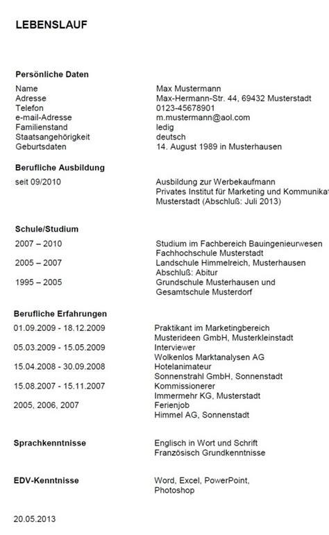Formato Europeo Curriculum Vitae Tedesco Esempi Di Curricula In Tedesco Modello Curriculum
