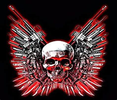 Wallpaper Sticker Kode 034 3 quot skull with gun and knife wings sticker laptop grim
