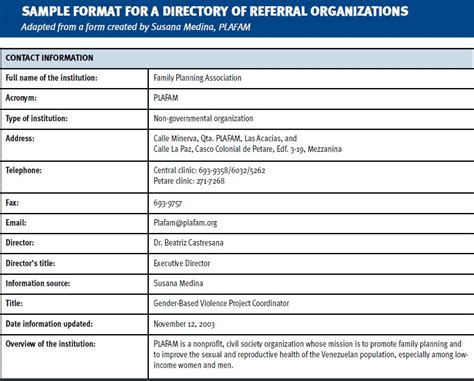 referral list template ensure coordination and referrals