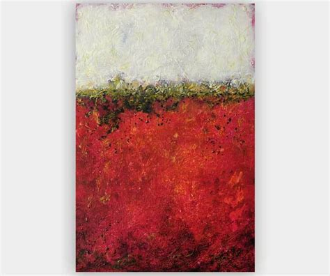 "Abstract Wall Art, Red, White, Gold ""Golden River"""