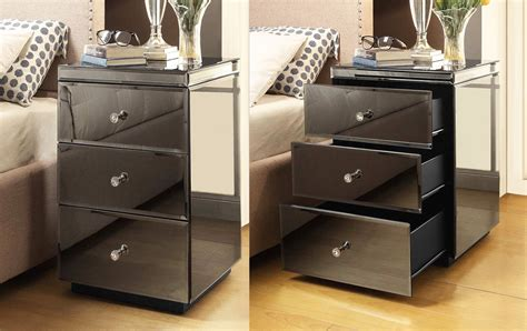 smoked mirrored bedroom furniture pair rio crystal smoke mirrored bedside table mirror