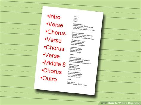 song structure template how to write a rap song with sle rap songs wikihow