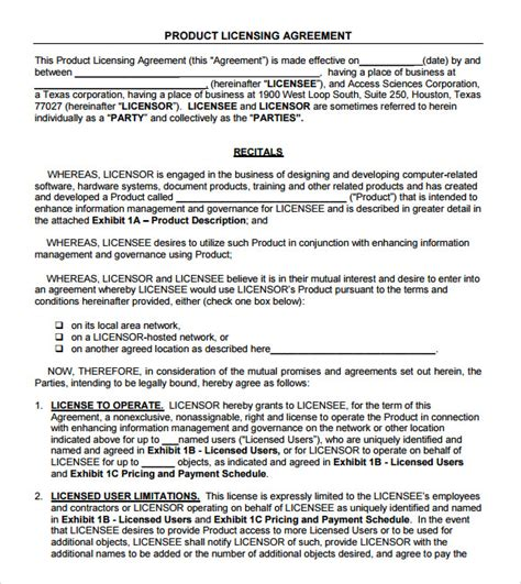 product agreement template sle license agreement 7 exle format