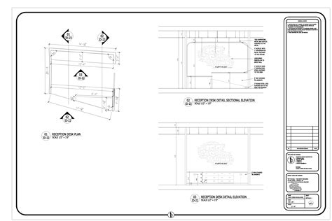 desk section reception desk section detail drawing