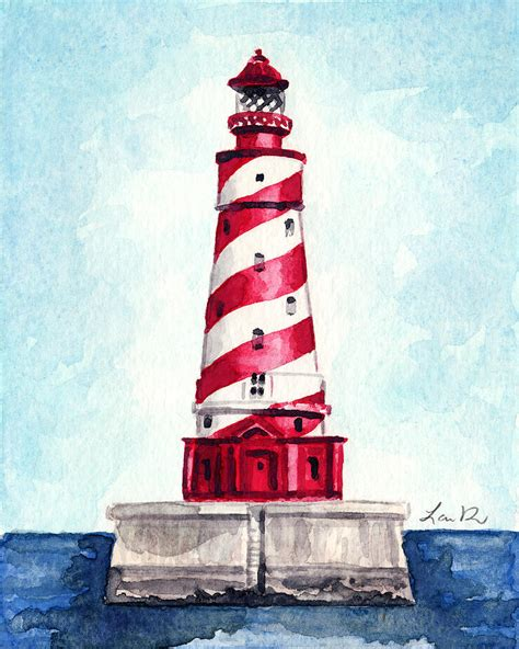 nautical painting white shoal lighthouse michigan nautical light house red