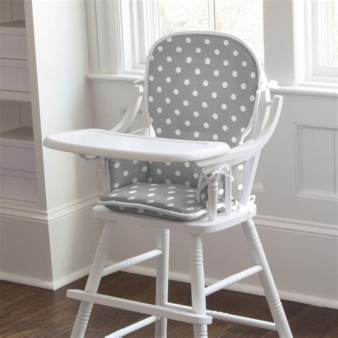 gray and white dots and stripes high chair pad carousel