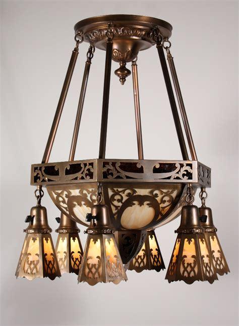 Slag Glass Chandelier Large Antique Brass Eight Light Chandelier With Original Slag Glass Early 1900s Nc1054 For Sale