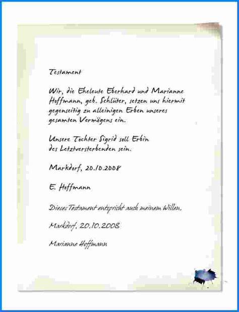 Testament Schreiben Muster Handschriftliches Testament Muster Invitation Templated