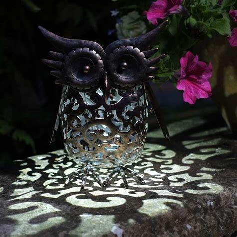 solar garden lights sale smart garden solar metal scroll owl light on sale fast