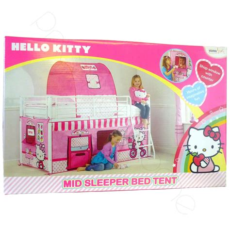 hello kitty beds hello kitty mid sleeper cabin bed tent new boxed ebay
