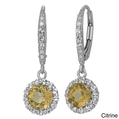 gioelli sterling silver gemstone halo dangle earrings ebay