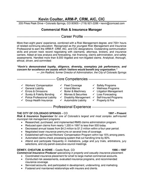 insurance resume objective insurance manager resume sle sle insurance