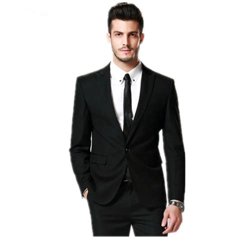 Suit Tie A G slim fit groom tuxedos black one buttons best suits jacket