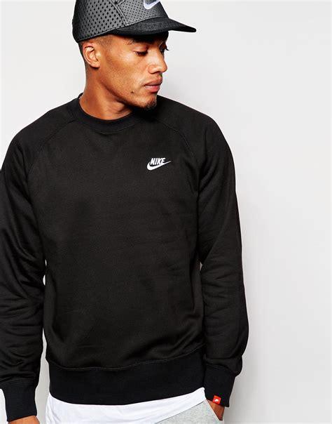 nike aw77 sweatshirt 598701 013 in black for lyst
