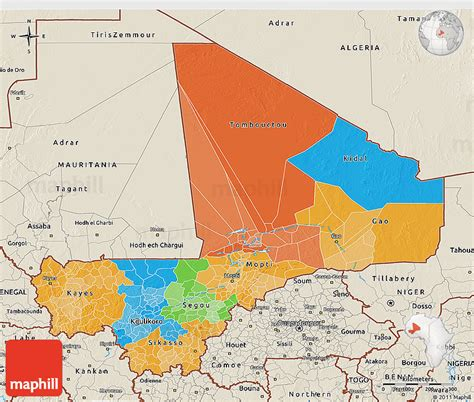 political map of mali political 3d map of mali shaded relief outside