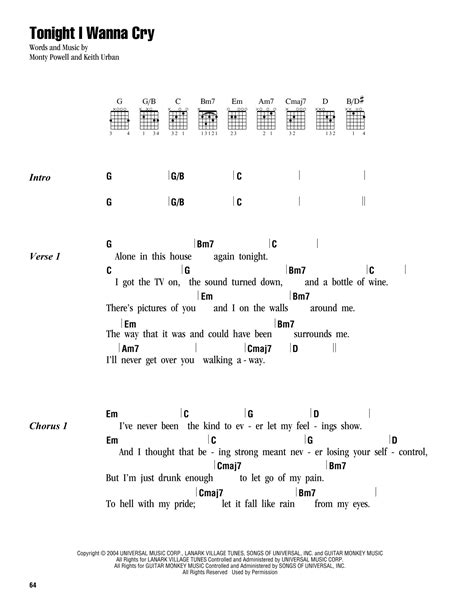 keith urban songs guitar chords tonight i wanna cry sheet music by keith urban lyrics