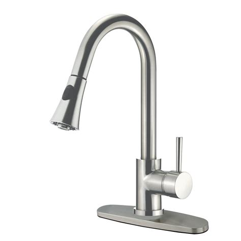 satin nickel kitchen faucet kingston brass modern single handle pull down sprayer