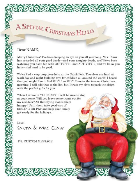 Best 25 Letter From Santa Template Ideas On Pinterest Letter From Santa Free Letters From Letters From Santa Templates