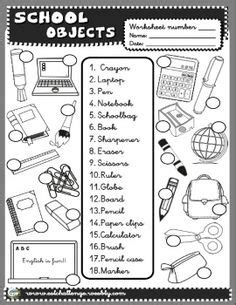 school objects matching b w worksheets kola pinterest school supplies worksheets buscar con google school
