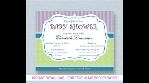 Baby Shower Invitation For Microsoft Word Youtube Baby Shower Invitation Template Microsoft Word