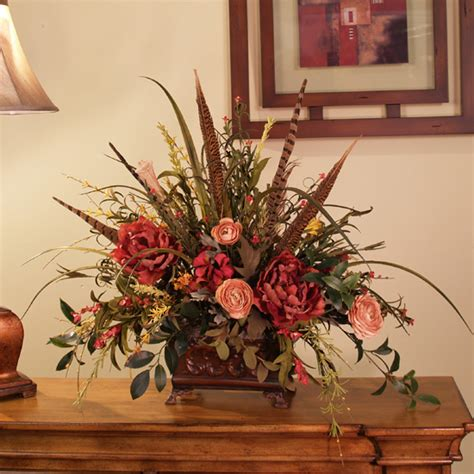 silk arrangements for home decor silk flowers wildflowers with pheasant feathers ar218 90