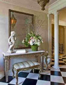 Narrow Bench Table Indoor Foyer Decorating Ideas With Unique Sculpture