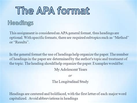 apa format with headings the apa format title page ppt video online download