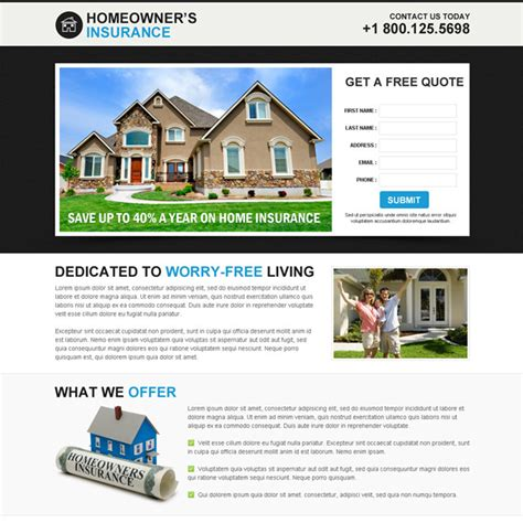Home Insurance Leads by Home Insurance Responsive Landing Page Designs For Your Business Conversion Page 1