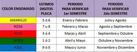 engomado vehicular 2015 calendario verificacion vehicular estado de mexico 2015